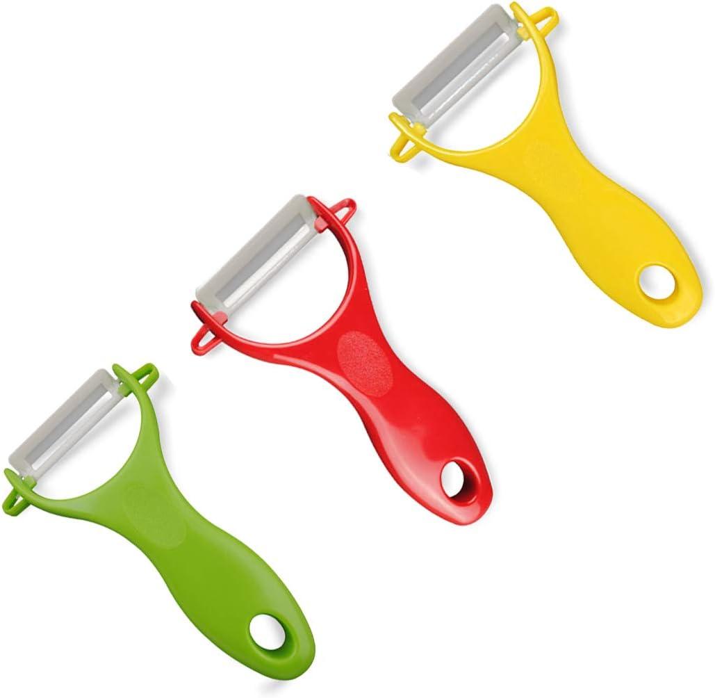 rojo, amarillo, verde pelador de cer/ámica duradero y afilado apto para la mayor/ía de los tipos de verduras y frutas Pelador de cer/ámica multifunci/ón de 3 piezas