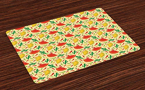 - Ambesonne Spanish Place Mats Set of 4, Dancing Mexican Women Cactus and Chili Peppers Jalapeno Latin Motif, Washable Fabric Placemats for Dining Room Kitchen Table Decor, Green Vermilion Yellow