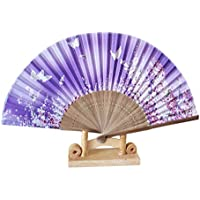 Folding Hand Held Fans, Inkach Folding Pattern Fan Dance Wedding Party Lace Silk Folding Hand Held Flower Printed Fan (G)