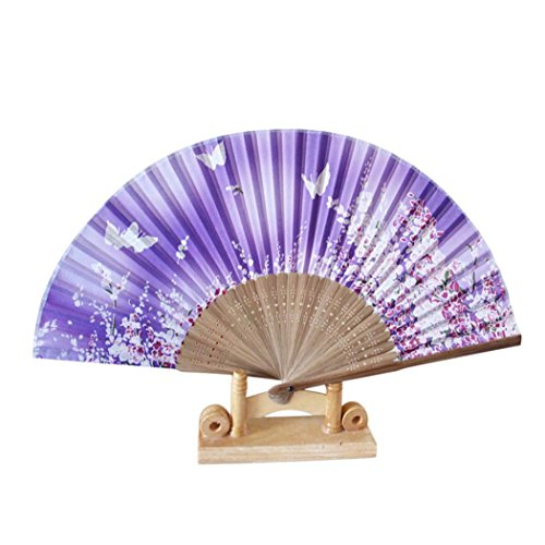 Folding Hand Held Fans  Inkach Folding Pattern Fan Dance Wedding Party Lace Silk Folding Hand Held Flower Printed Fan  G