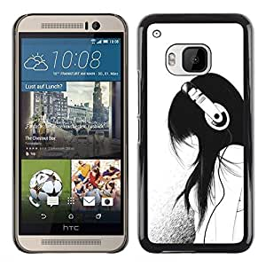 Planetar® ( Music Girl Headphones Minimalist Sad ) HTC One M9 Fundas Cover Cubre Hard Case Cover