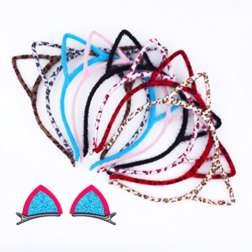 Cat Ear Headband Esee 8Pcs Hair Band Fluffy Hair Hoop with 1 Pair Cat Ear Hairpin for Party and Daily Decoration (Halloween Cat Ears Make)
