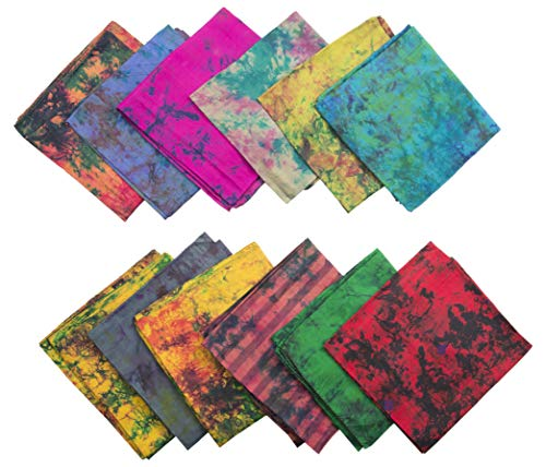 (KNIT SILK Women's Recycled Pure Silk Abstract Print Scarf Set (Multicolor, 36 inches x 36 inches, Pack of 12) Gift for her)