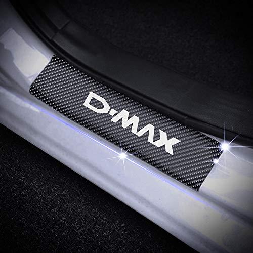 SENYAZON D-MAX Decal Sticker Carbon Fibre Vinyl Reflective Car Door Sill Decoration Scuff Plate for Isuzu D-MAX (White)