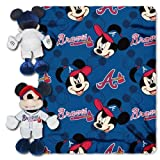 MLB Atlanta Braves Pitch Crazy Co-Branded Disney's Mickey Hugger and Fleece Throw Set