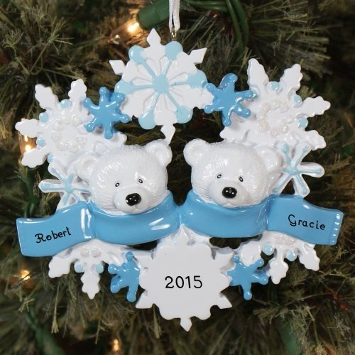 Personalized Polar Bear Wreath 2 Christmas Holiday Gift Expertly Handwritten Ornament