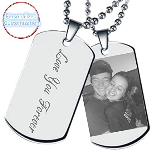 Photo Necklace Dog Charm Tag (Amandasessom Personalized Photo Pendant - Text Dogtags Custom Titanium Steel Your Picture Necklace Silver 22