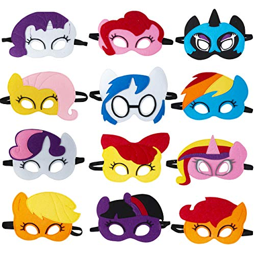 TEEHOME Pony Masks for Little Girls Birthday Party Favors (12 Packs) - Princess Party Supplies with 12 Different Types Pony Masks | Unicorn Masks - Great Idea for Pony Birthday Decorations ()