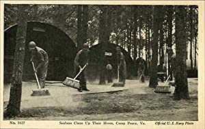Seabees Clean Up Their Hives, Camp Peary Williamsburg, Virginia Original Vintage Postcard from CardCow.com