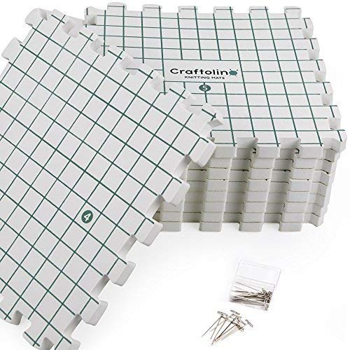 Blocking Mats for Knitting - 9 Extra Thick Boards With 1 Inch Spaced Grid - For Needlepoint or Crochet - Includes 150 Stainless T-Pins and Convenient Storage Bag With Handles by Craftolino (Image #2)