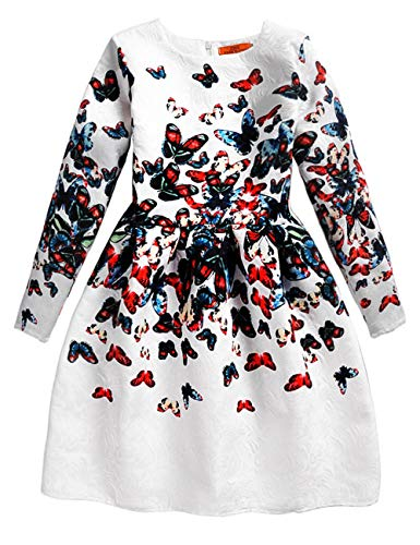 21KIDS Butterfly Print Girl Wedding Party Autumn Long Sleeve Dresses,12,Long Sleeve-butterfly]()