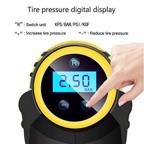Tradtrust Automatic Cordless Tire Inflator,Portable Hand Held Cordless Tire Inflator Portable Air Compressor,Digital Pressure Gauge