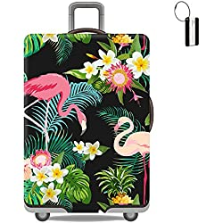 XMBHome Travel Luggage Cover Suitcase Protector Flamingos Bag & Luggage Tag Fits 18-32 Inch Luggage (XL(29-32 inch luggage), Flamingos)