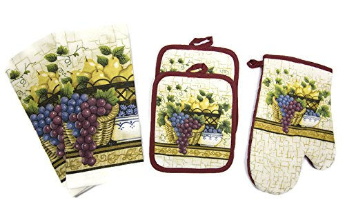 Designer Value Pack 5 Piece Kitchen Linen Set Towels, Pot Holders & Oven Mit (Fruit Basket) by American Linen