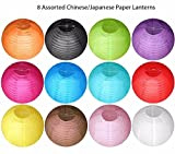 M.V. Trading LNT16ER-AS/S8 Colorful Chinese/Japanese Round Paper Lanterns with Metal Frame, 16-Inches, Set of 8, Assorted Color, Color May Vary