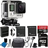 GoPro HERO4 SILVER Edition Camera HD Waterproof Camcorder With Built-In Touch Screen With 2 Replacement Lithium Ion Batteries + Dual Battery Charger + Deluxe Carrying Case + Tripod Gripster + Monopod +HDMI to Micro-HDMI + 32GB SDHC MicroSD Memory Card Complete Deluxe Accessory Bundle