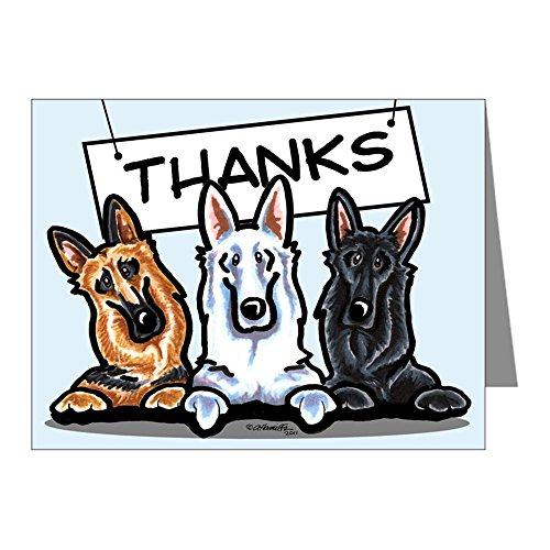 CafePress German Shepherd Cute Thank You Note Cards (Pk Of 2 Blank Note Cards (Pack of 20) Glossy ()