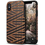 Tasikar Compatible with iPhone Xs Max Case Easy Grip Slim Case with Wood Grain Design Natural Feel Compatible with iPhone Xs Max (Leather & Wood)