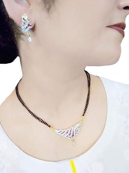 46014aedc5595 Amazon.com: DAPHNE Stylish Indian Bollywood Zircon Mangalsutra Set ...