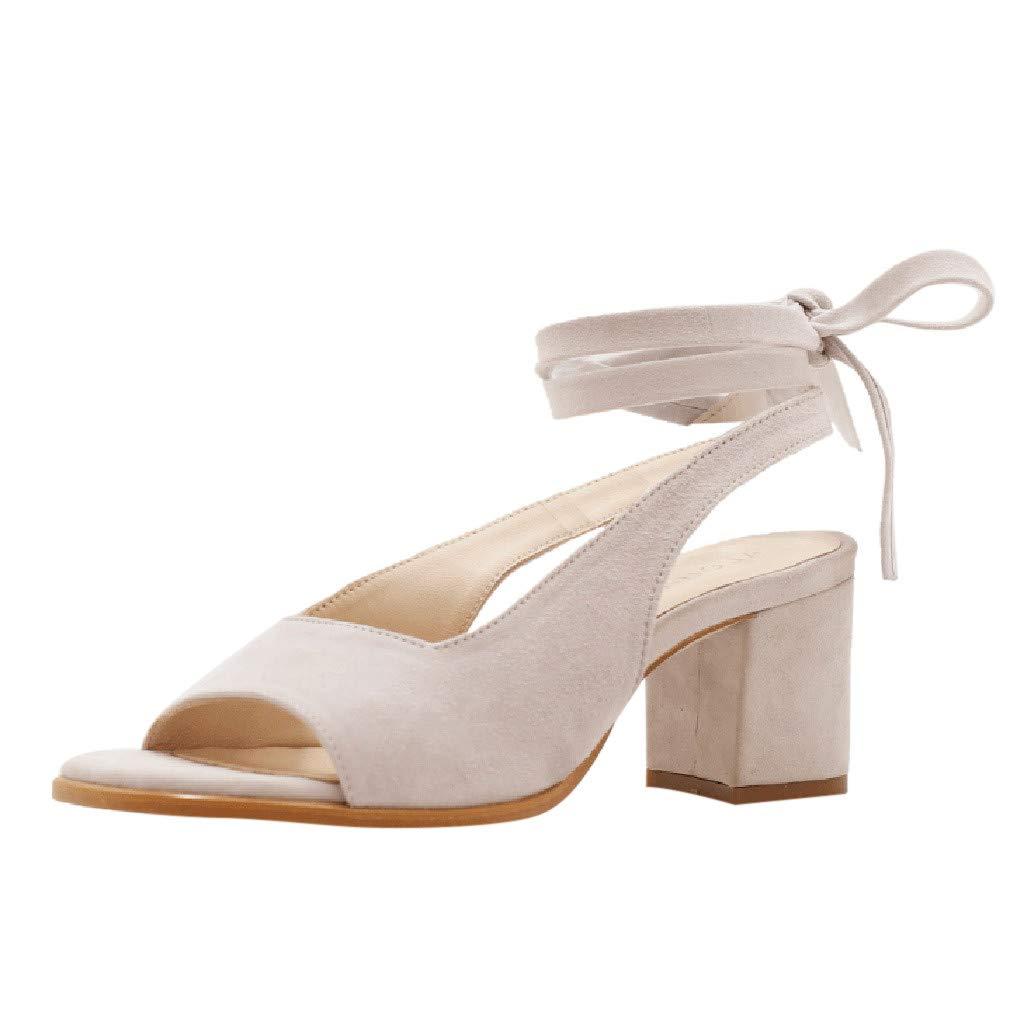 FELZ Sandalias Zapatos de Tacón Mujer Moda Casual para Mujer Roma Correa de Tobillo Sandalias Peep Toe Zapatos de Tacones Cuadrados: Amazon.es: Ropa y ...