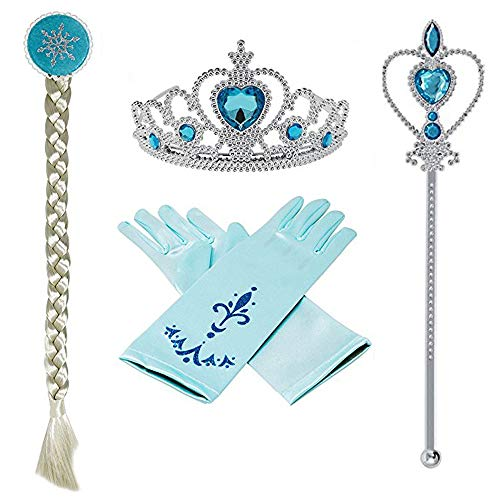 e-supao Princess Elsa Dress up Snow Queen Costume Disney 4 Pieces Crown Wig Wand Gloves]()