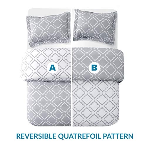 Bedsure Bedding Printed Duvet Cover Set Twin Size 68quotx90quot Grey 2 Pieces 1 Duvet Cover  1 Pillow Sham  Ultra Soft Brushed Microfiber  Comforter Quilt Cover with Zipper Closure Corner Ties
