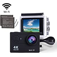 Sports Camera, YELIN 4K WiFi Waterproof Sports Action Camera Ultra HD 12MP Action Camcorder 170 Degree Sony Lens with 2-inch LCD Screen, 2 Rechargeable Li-ion Batteries 19pcs Accessories (Black)