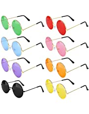 ONESING 8 Pairs Round Hippie Sunglasses Circle Sunglasses for Women John 60 's Style Circle Colored Glasses Vintage Sunglasses for Men & Women