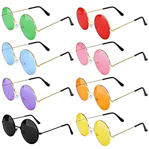 ONESING 8 Pairs Round Hippie Sunglasses Circle Sunglasses for Women John 60 's Style Circle Colored Glasses Vintage…