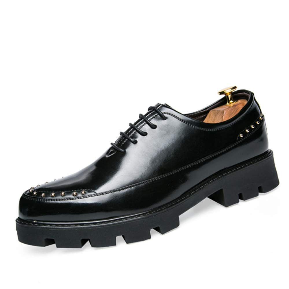 Oxford Shoes Men's Oxfords Genuine Leather Chunky Heel Solid Color Comfortable Shoes Business Shoes for Men (Color : Black, Size : 8 M US)