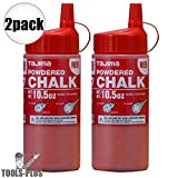 2 Pack Tajima PLC2-R300 Ultra-Fine Powdered Snap-Line Chalk, Red chalk, 10.5 oz (300g)