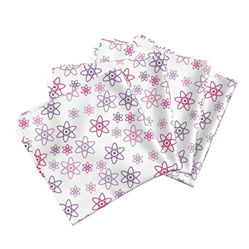 Chemistry Science Atom Nerd Geek Atomic Scientist Linen Cotton Dinner Napkins Atomic Scince (Pink and by Robyriker Set of 4 Dinner Napkins by Roostery