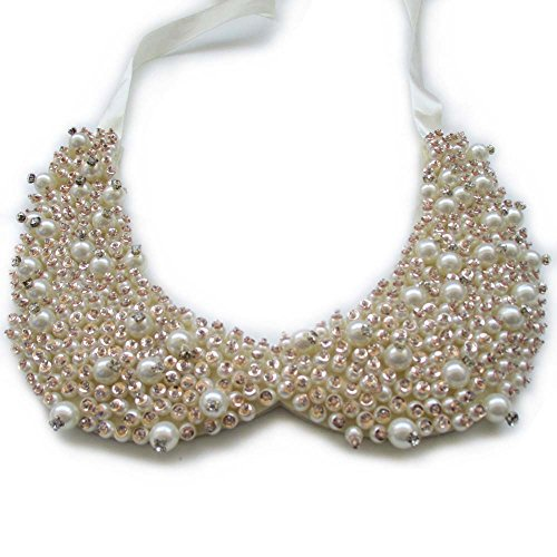 Handmade Faux Pearls Sequins Clear Stone Crystal Beaded Peter Pan False Collar Necklace Pack of 1 Piece