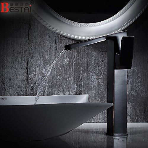LSRHT Waschtischarmatur Wasserhahn Armatur Badezimmer Waschbecken Mischbatterie Minimalistischer Stil Kupfer Schwarz Waschen Gesicht Toilette tb-02