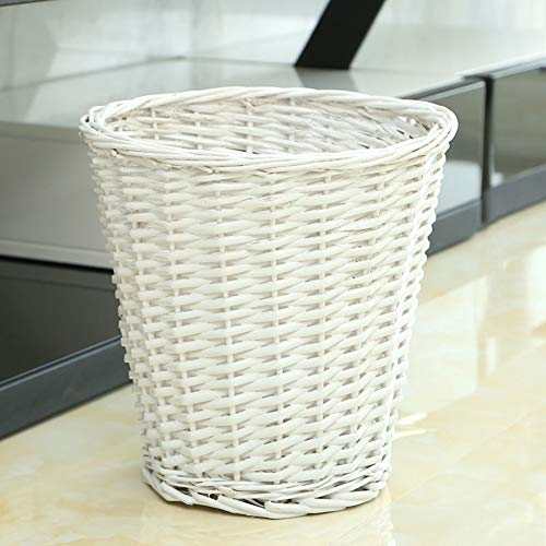 GWW Round Wicker Trash can,Handwoven Waste Paper bin whitout lid Rattan Rubbish bin for Bedroom Kitchen Bathroom Office-White 18x28x28cm(7x11x11inch)