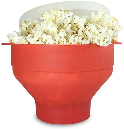 U Chef Tazón plegable para hacer palomitas hecho de silicón de grado alimenticio. Bote para palomitas Popcorn popper rojo...