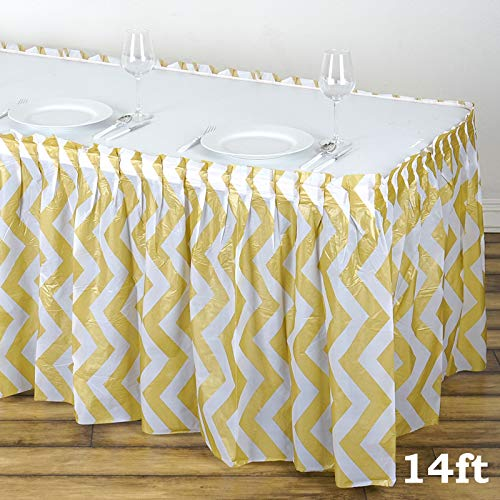 (BalsaCircle 2 pcs 14 feet x 29-Inch Champagne Plastic Chevron Table Skirts Wedding Party Event Decorations Catering Wholesale)