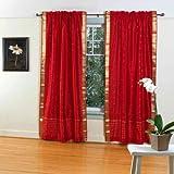 Cheap Fire Brick Rod Pocket Sheer Sari Curtain / Drape / Panel – 43W x 96L – Pair