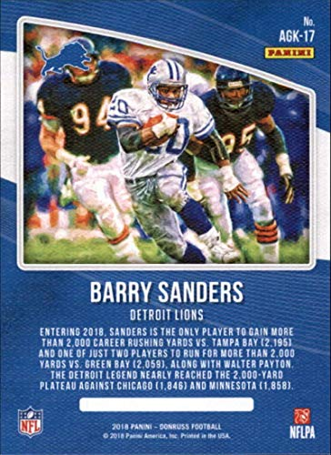 4ca6fb016 Amazon.com: 2018 Donruss All-Time Gridiron Kings #17 Barry Sanders Lions  Football Card NM-MT: Collectibles & Fine Art