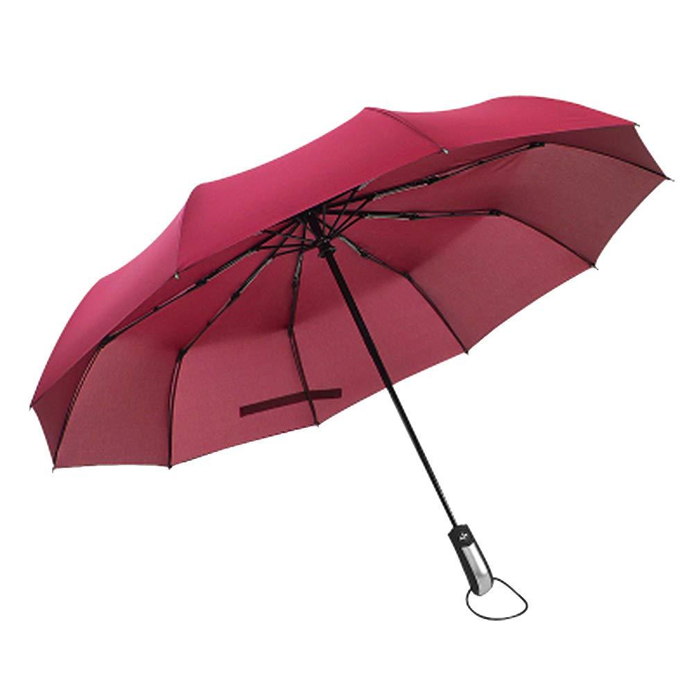 Light Year Anti-UV Water-Resistant Cloth Steel Skeleton Structure Umbrella Retractable Foldable Sun Protection Wind Resistant Portable Travel 10 Rib Plastic Handle – 40 x 40 x 26 – Crimson