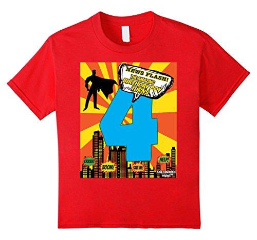 Flash Superhero Party Supplies (Kids Superhero Birthday Shirts For Boys Size 4 Four Party Theme 4 Red)