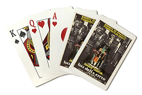 Luci della Citta - Chaplin Vintage Poster (artist: Casaro, R.) Italy c. 1950 (Playing Card Deck - 52 Card Poker Size with Jokers) ()