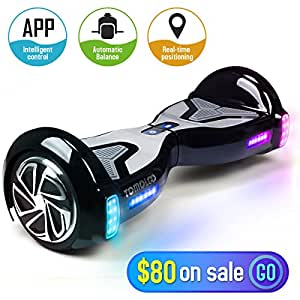 TOMOLOO Hoverboard with Bluetooth Speaker Smart Scooter Two-Wheel Self Balancing Electric Scooter and Lights - Black Hover Board with UL2272 Certified