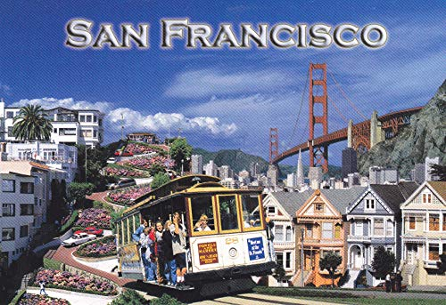 E-47 SAN FRANCISCO, CALIFORNIA Lombard Street, Cable Car, Victorians, Skyline, and Golden Gate Bridge POSTCARD from HIBISCUS -