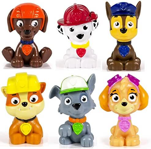 Paw Patrol Mini Figures Set of 6 - Rocky, Zuma, Skye, Rubble, Marshall & Chase