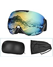 Charlemain Ski Goggles Women Men, Snowboard Goggles with Anti-Fog Dual Lens, Snow Skiing OTG Goggles with 100% UV Protection, Adjustable Wrap, Helmet Compatible