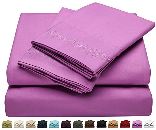 Jessie Porter Twin Size Bed Sheet Set - Soft Brushed Microfiber Luxury Comfort Sheet Set - 1800 Thread Count Bedding Linens - Embroidered Design - Magenta Purple - Victoria Collection