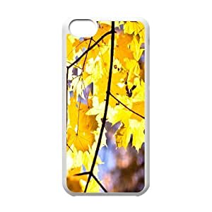 Leaf & Leaves Series, IPhone 5C Cases, Yellow Maple Leaves 2 Cases for IPhone 5C [White]