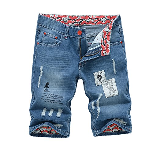 Chen Men's Denim Shorts Ripped Mid Waist Hip hop Jeans Shorts (34, Style 3) by Chen