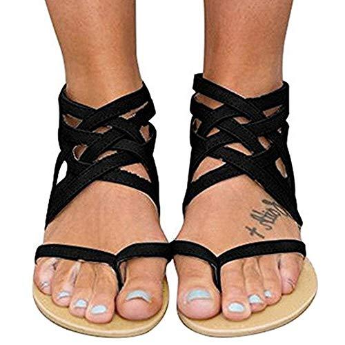 Xiakolaka Womens Strappy Sandals Flat Gladiator Cross Strap Thong Toe Shoes